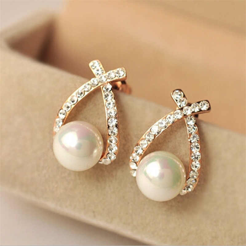 2019 Korea Hottest Fashion Cross Brincos Oorbellen Bijoux Simulated-pearl Rhinestone Crystal Stud Earrings For Women Jewelry