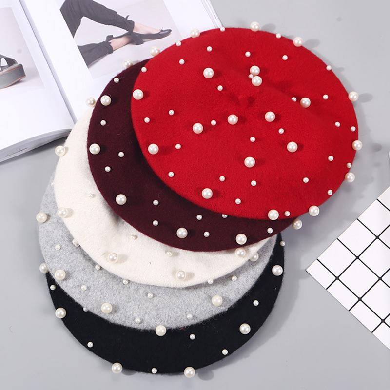 Fashion Wool Women Winter Berets Luxury Pearl Cashmere Female Warm Beret Hats Girls Flat Cap Painter Caps Boina Femme Gorras
