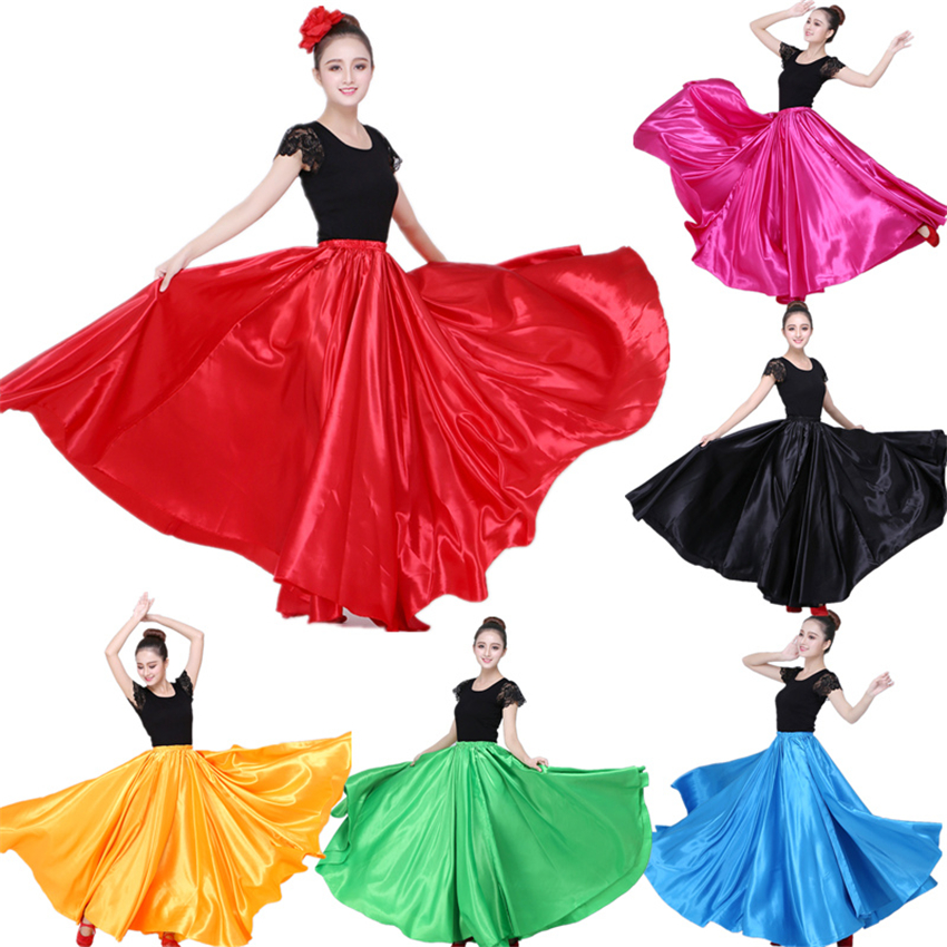 10Color Flamenco Skirts For Women Spanish Dance Gypsy Belly Chorus Adult Solid Stage Performance Women Bullfighting Spain Dress