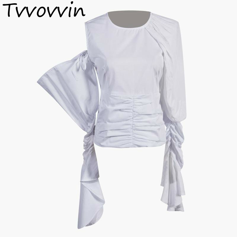 Femmes Blouses coton blanc chemise femmes haut asymétrique blanc femmes chemises irrégulière femme hauts à manches longues été hauts E173