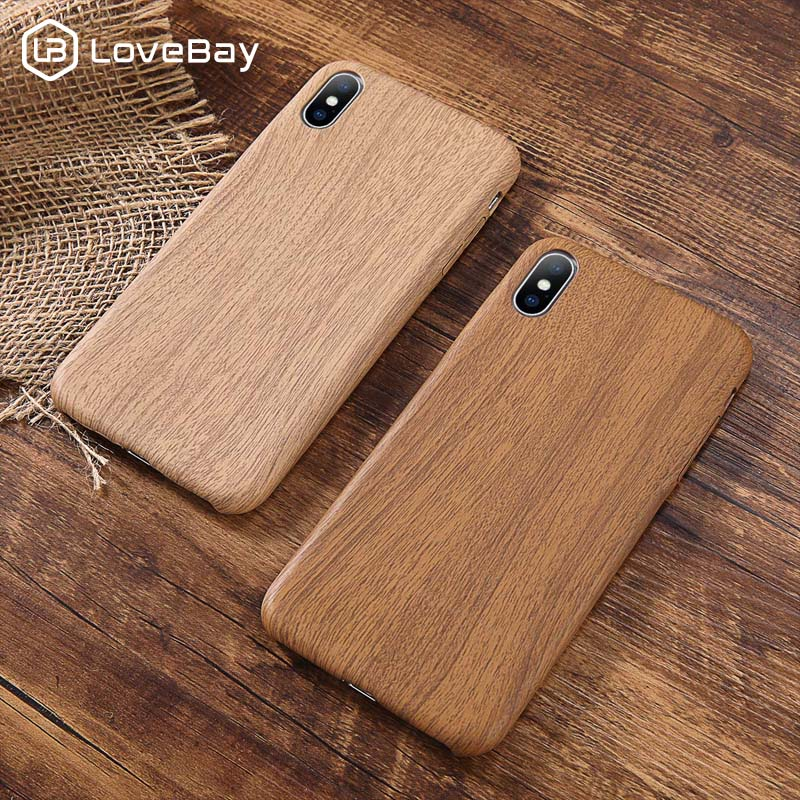 Lovebay PU Case Cover For Iphone 6 6S 7 7plus 8 Plus Wood Grain Yellow Soft Phone Cases For Iphone XS Max XR X Luxury Back Cover