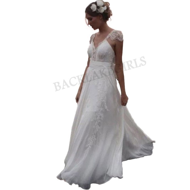 Sexy robe de mariée v-cou dentelle robe dos nu a-ligne sur mesure mariée robes de mariée avec Bid Bow robes de mariée 2019