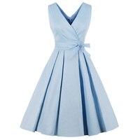 Solide Vintage Women Summer Dress Cotton Plus Size V cut Casual A line Dress 50 S Rockbilly Pin Up Dress Feminino Dresses