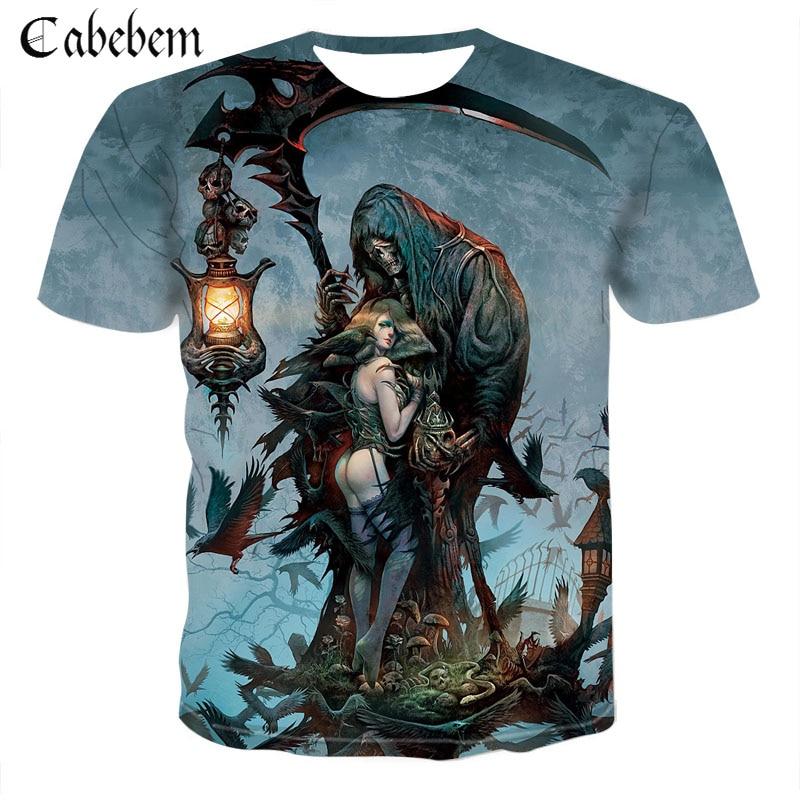 176900ab4fb Cheap Nuevo cráneo muerte camiseta de Halloween hombres/mujeres 3D de la  impresión de la