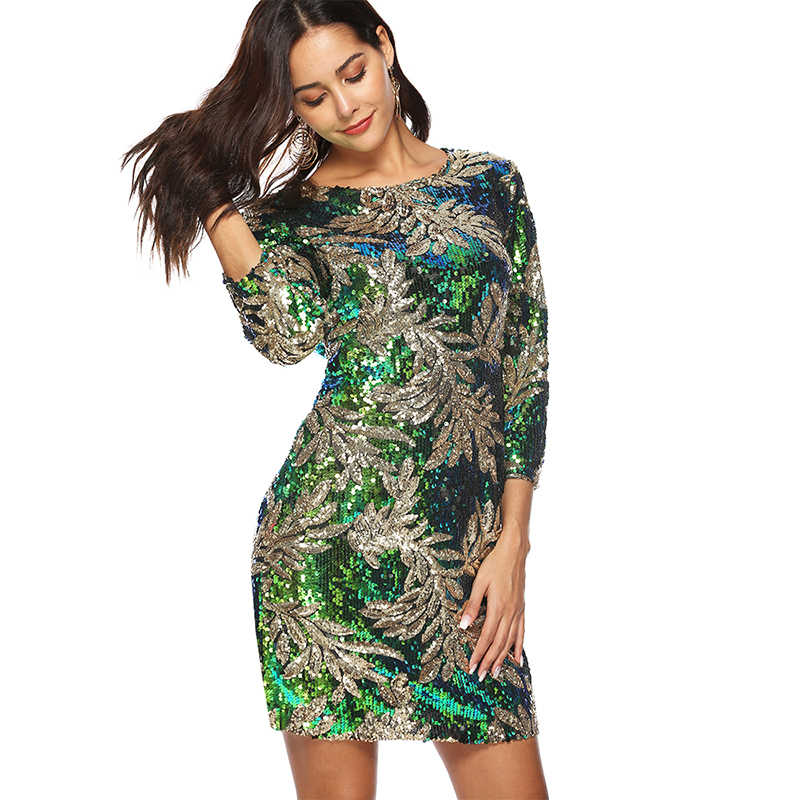 ... Women Sequined Bodycon Dress 3 4 Sleeves O Neck Evening Party Dresses  Casual Mini Dress ... 198afc9fbcae