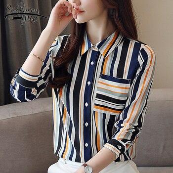 8fd50d8842b Новые модные женские блузки 2019 длинный рукав полосатая шифоновая блузка  рубашка женские топы и блузки OL
