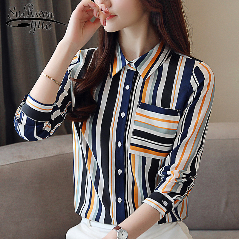 new Fashion woman   blouses   2019 long sleeve striped chiffon   blouse     shirt   women tops and   blouses   OL   blouse   blusa feminina 0891 40