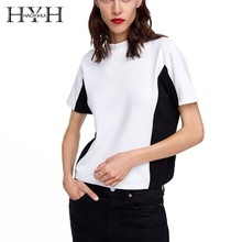 HYH HAOYIHUI 2019 Summer Black White Simple Short Sleeves On Side Seam O-Neck