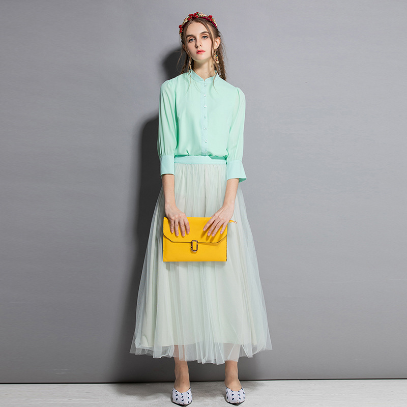 Spring &summer New Sweet Womens Suits Set 2 Pieces With Skirt Retro Stand Collar Lantern Sleeve Shirt Elegant Gauze Long Skirt