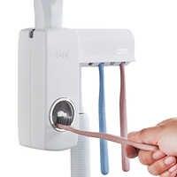 OLET 1 ensemble distributeur de dentifrice automatique créatif avec porte-brosse à dents salle de bain résistant à l'eau collant dentifrice presse-agrumes