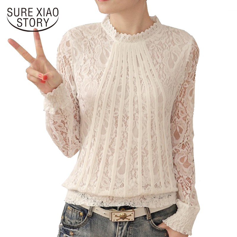 New 2018 Fashion Women   Blouses   White lace   Blouse     shirt   plus size tops Long Sleeve O-neck Casual Lady   Blouses   Lace tops 61C 25