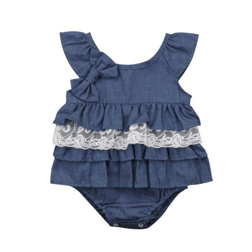 Fashion Newborn Kids Baby Girls Blue Bodysuit Party Lace Bow Tutu Dress Sleeveless Clothes Outfit 0-18M