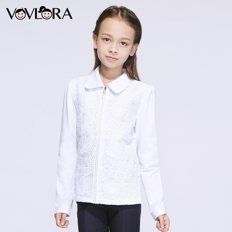 Kids shirt for girls school blouses lace white cotton long sleeves turn down collar zipper autumn 2018 size 7 8 9 10 11 12 years