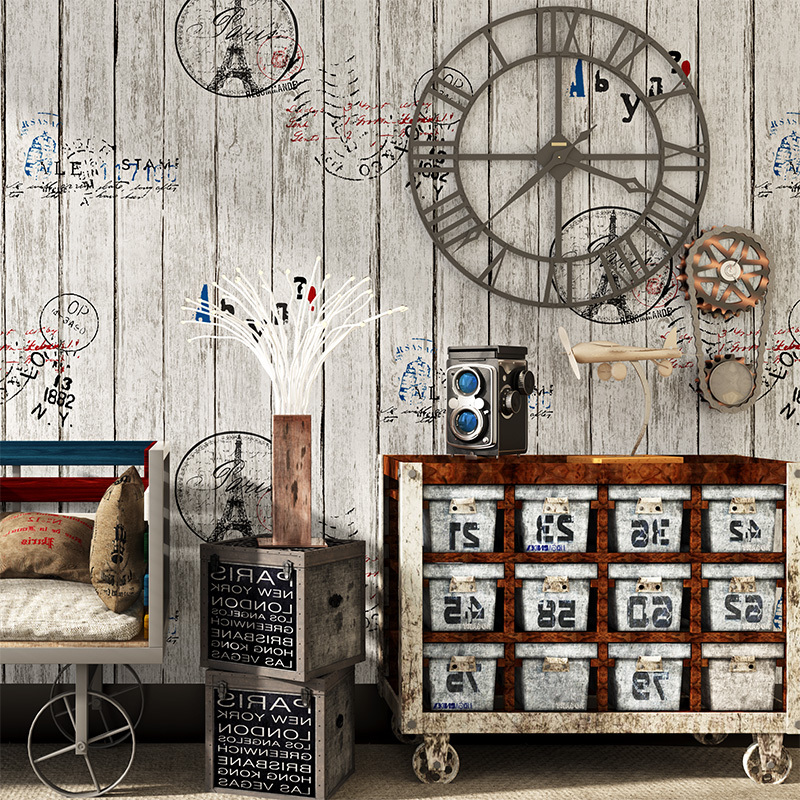 3d Vintage Old Wood Grain Wallpaper Roll Wood Board Plank Letters Feature Wall paper Cafe Store