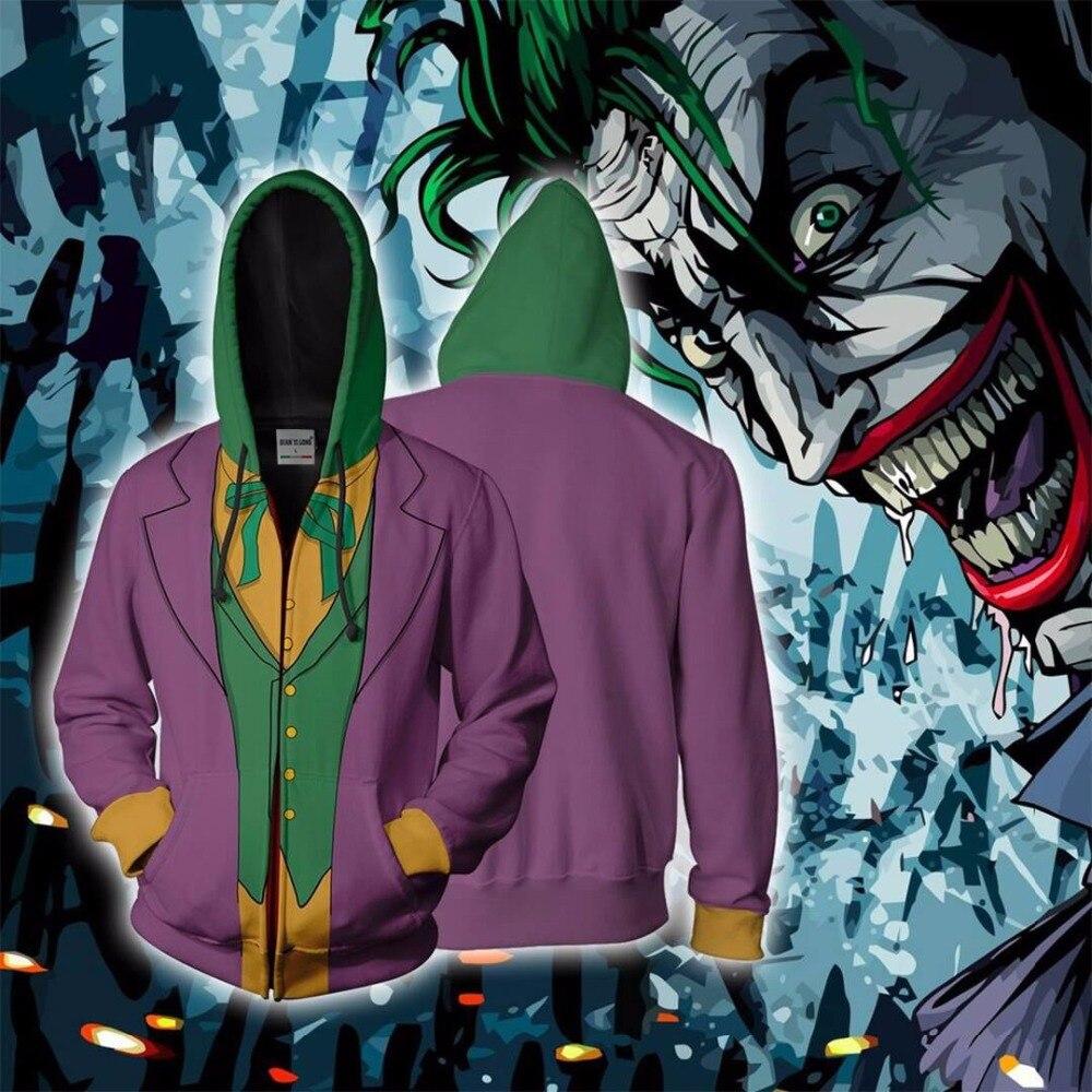 Bianyilong 2018 nouveaux hommes à capuche Joker 3d sweats à capuche imprimés survêtement veste à capuche zippé à capuche Hip Hop hauts magasin d'expédition