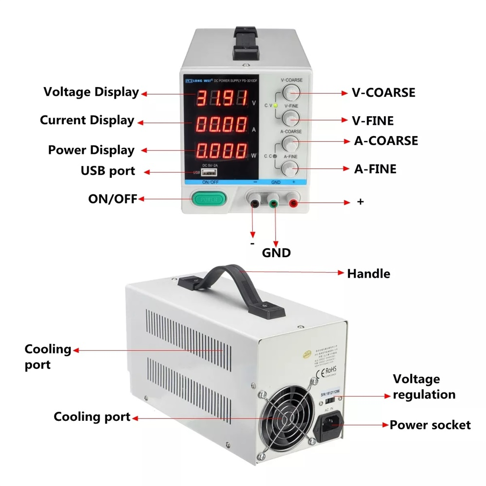 LONG WEI PS-3010DF Adjustable LED Digital Display DC Power Supply 110V/220V 30V 10A Switching Regulated 5V 2A USB Power Supply