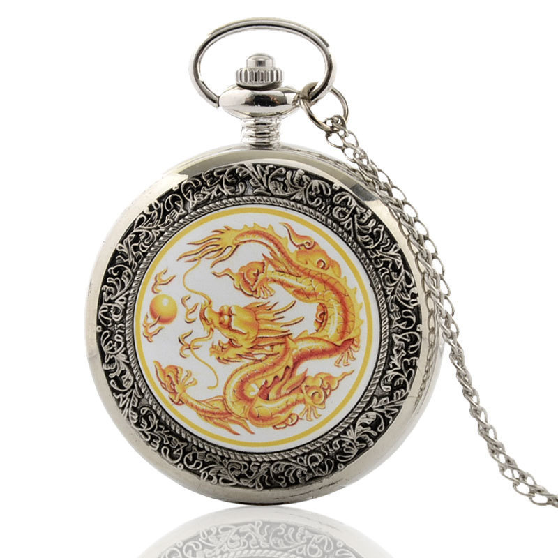IBEINA Orange Chinese Dragon Silver Pocket Watch Theme Full Hunter Quartz Engraved Fob Retro Pendant Pocket Watch Chain Gift