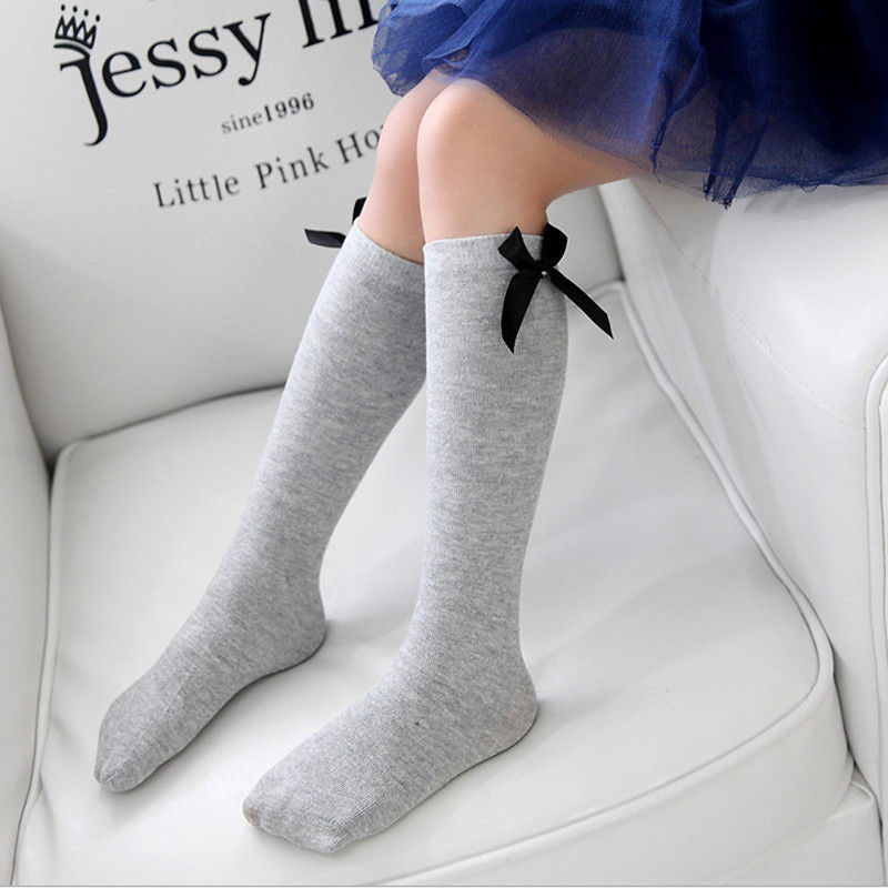 Cute Bowknot Knee High Socks For Girls 5 Colors Available