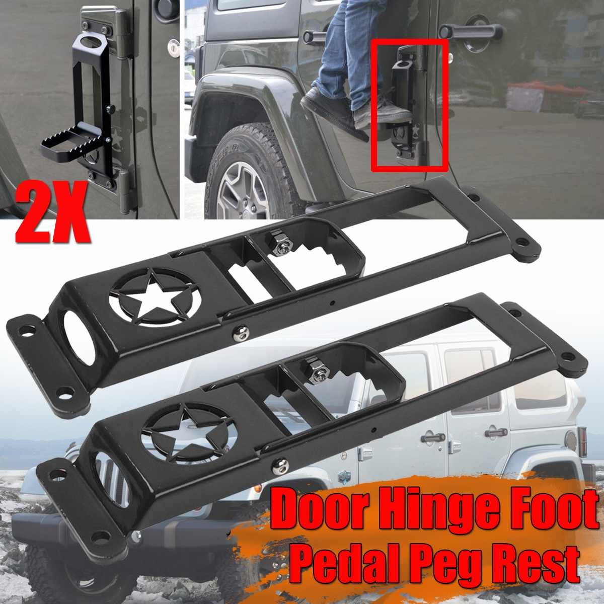 Car Folding Door Hinge Foot Pedal Peg Rest For Jeep For Wrangler JK 2007-2017 2/4dr Door Hinge Step Metal Folding Foot Peg Matel crash bar mt 09