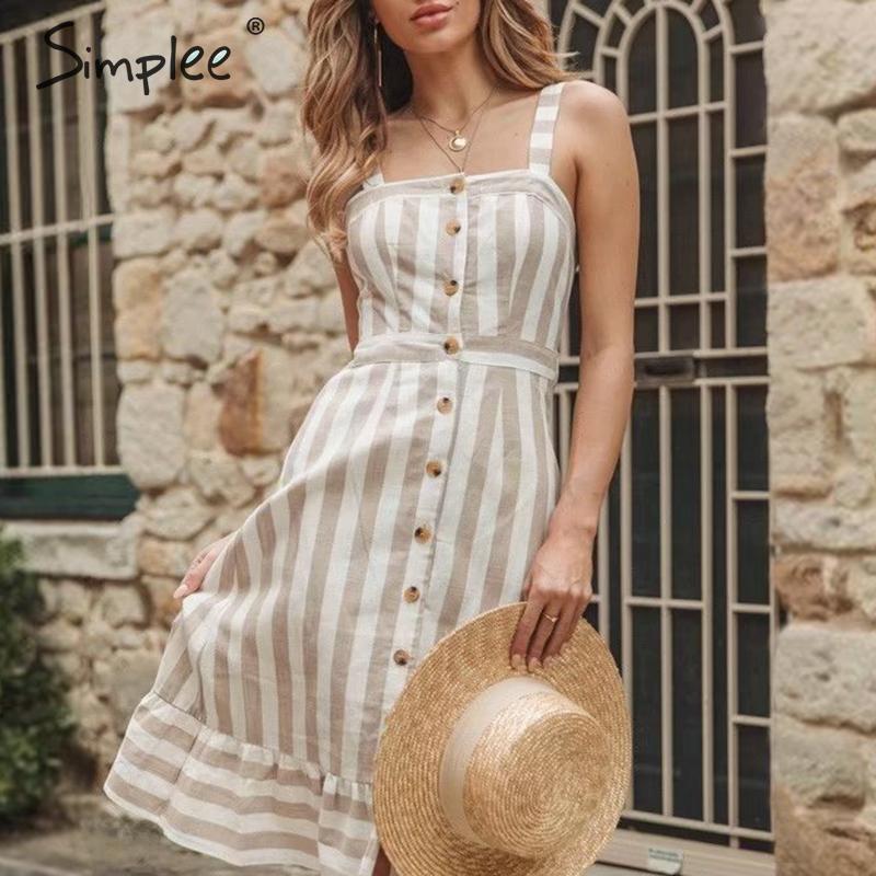 Просто, элегантно, хаки Полосатое женское платье пуговицы льняное летнее пляжное платье пикантная с вырезом на спине и бантом женское плать...