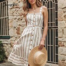 Simplee Elegant khaki striped women dress Buttons linen summ