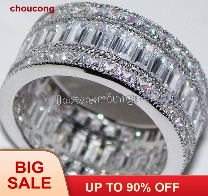 Choucong Penuh Princess cut Batu 5A Zircon batu 10KT Emas Putih Diisi Engagement Wedding Band Cincin Set Sz 5-11 Hadiah