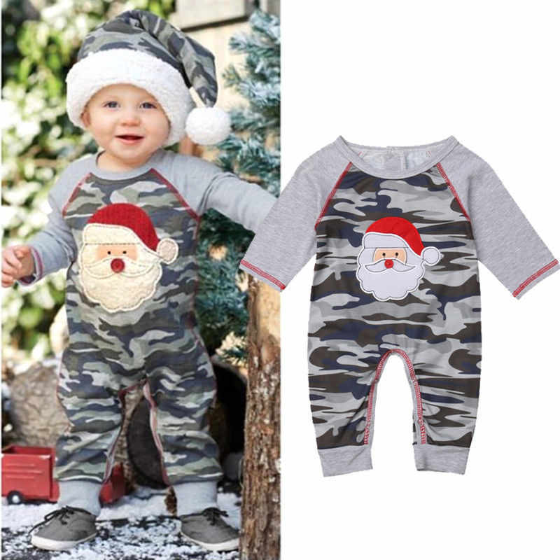 f142539fad4f 2018 Casual Christmas Newborn Clothes Baby Boys Girls Santa Claus Romper  Unisex Camo Long Sleeve Patchwork