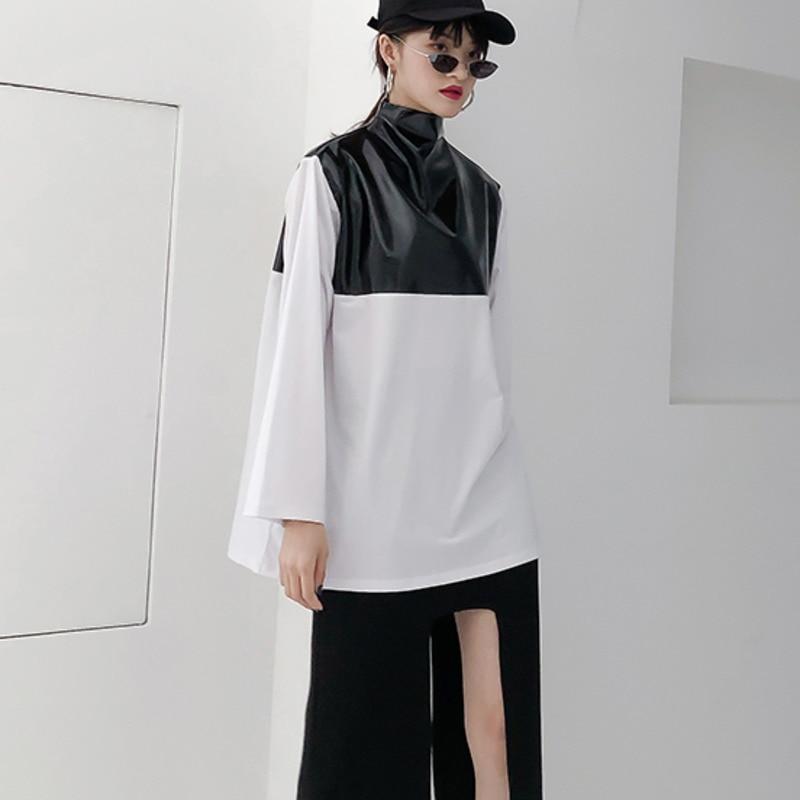 Printemps 2019 nouveau Patten demi col roulé à manches longues pu-patchwork Zipper coton Streetwear T-shirt femmes femme E933 - 2