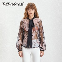 TWOTWINSTYLE Summer Patchwork Print Women's Shirt Bow Collar Lantern Sleeve Perspective Feathers Blouse Female Fashion New 2019