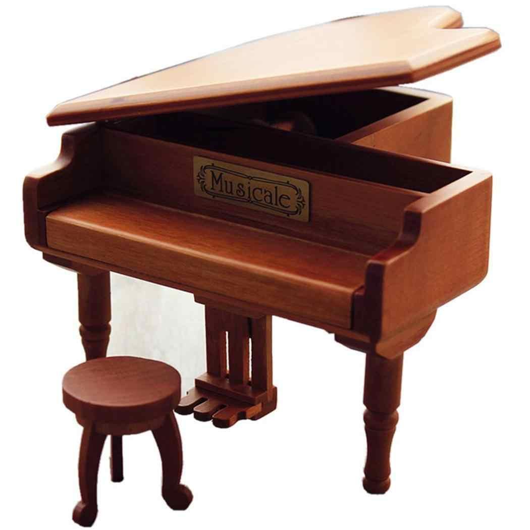 Деревянный Геометрия коробка пианино Повседневное украшения коричневый подарки Домашний Мини Рождественская одежда унисекс музыки по случаю Дня рождения