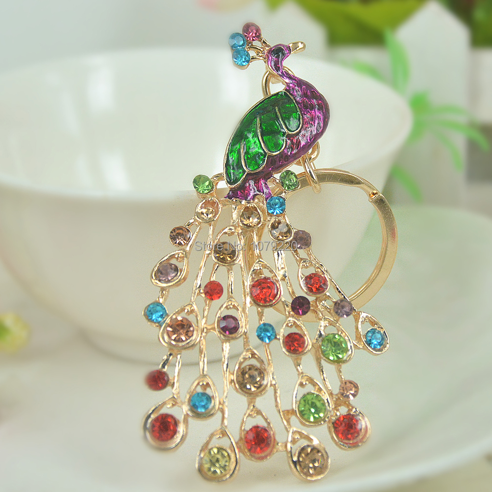 Cute Peacock Keyring Rhinestone Crystal Charm Pendant Key Bag Chain Handbag Jewelry Keychain Christmas Mother's Day Gift