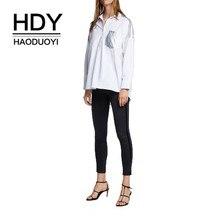 HDY Haoduoyi 2019 New Women Blouse Boyfriend Wind Asymmetric Hem Metal Stitching Shirt недорого