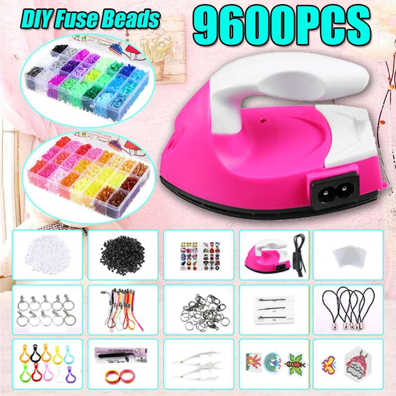 With Iron 9600pcs/bag 5mm Fuse Beads Puzzles Hama Beads 48 Colors Craft Peg Board Activity Educational Gift Kid Toy DIY
