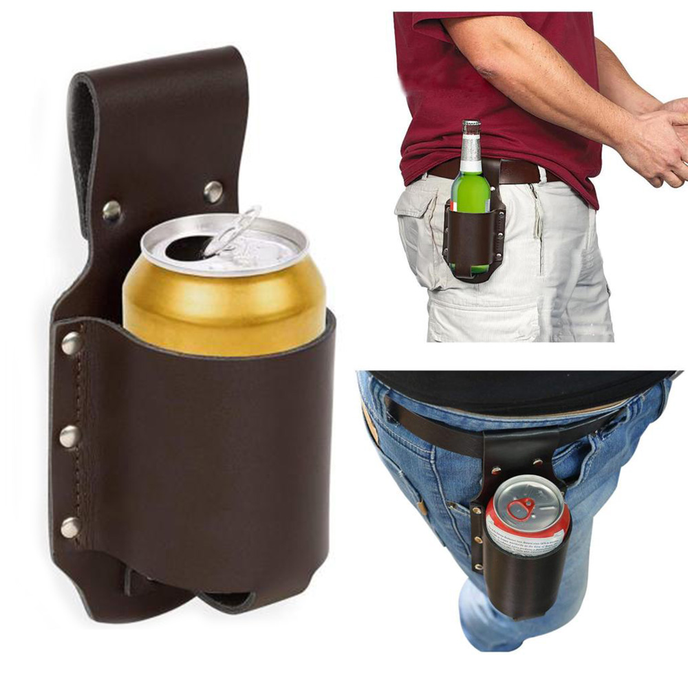 Climbing Bags New Beer Belt Holster Drink Soda Can Bottle Pouch Canvas Holster Black Camouflage For Party Outdoor Holidays Camping Drinks J2