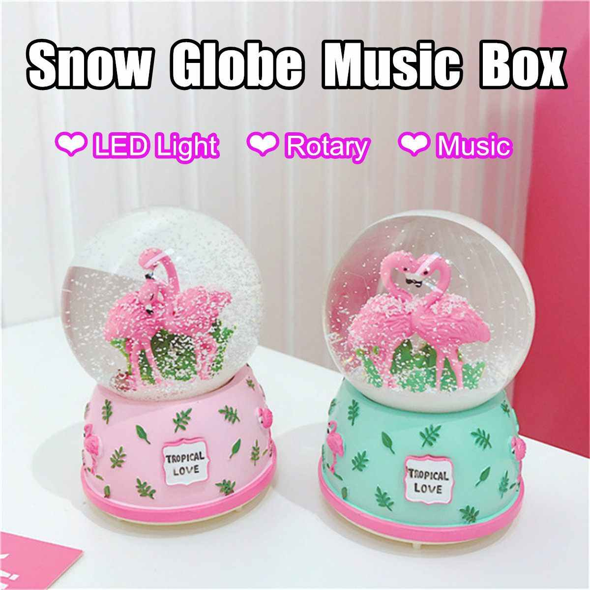 LED Light Electronic Automatic Spray Snowflake Musical Flamingo Water Snow Globe Music Boxes Decor Crafts Valentine's Day Gifts