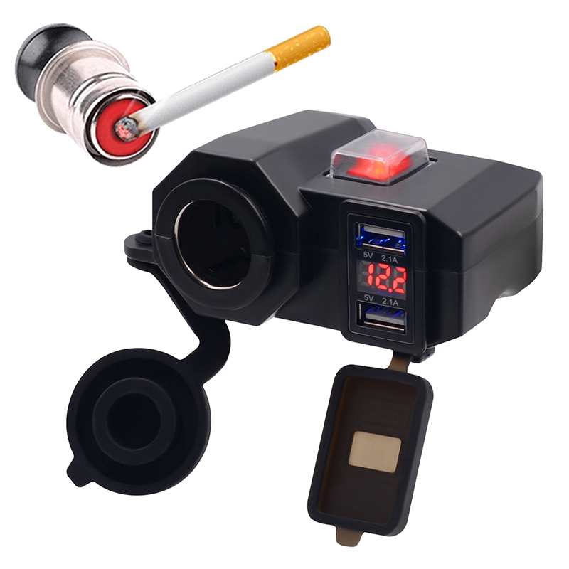 1pc black Motorcycle Cigarette Lighter Socket Outlet Dual USB Charger LED Voltmeter+Switch high quality accessory part