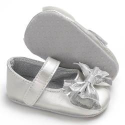 Bling сверкающих с милым бантом детская обувь для девочек PU первые ходоки Мэри Джейн мягкой подошвой принцессы обувь для младенцев для