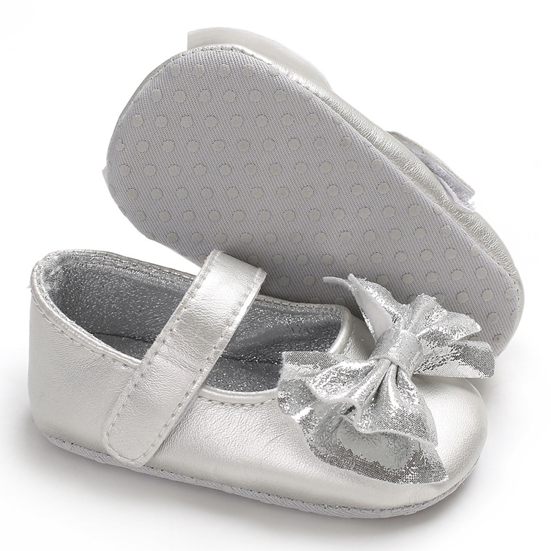 Bling Shinning Cute Bow Infant Baby Girls Shoes PU First Walkers Mary Jane Soft Sole Princess Crib Baby Shoes For Party