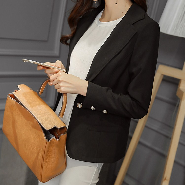 New Fashion Ladies Yellow/Black Slim Blazer Short Summer Simple Button Pockets Thin Casual Coats