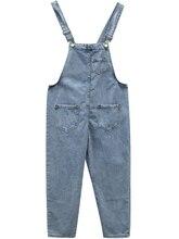 Spring Autumn Blue Strap Denim Jumpsuit Womens Loose Denim Overalls For Women Vintage Washed Pocket  Jeans Rompers Playsuit цены онлайн