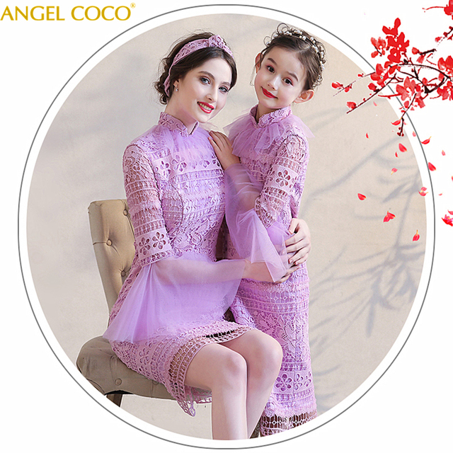 Purple Lace Family Matching Clothes Outfits Mother Daughter Dresses Mommy And Me Clothes Kids Child Mum Big Sister Costumes