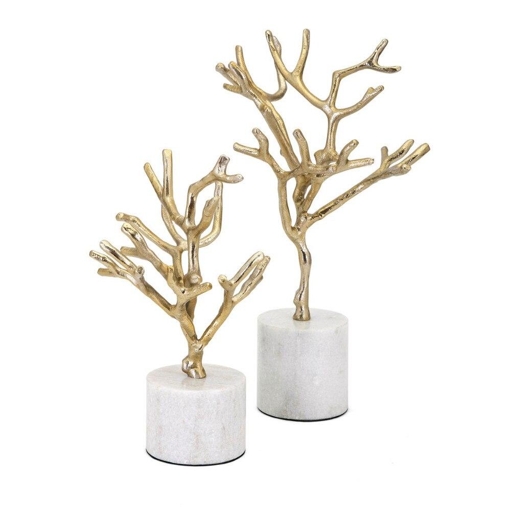 Привлекательные концепции затмения деревьев на мраморной основе набор из 2 предметов золото бензара