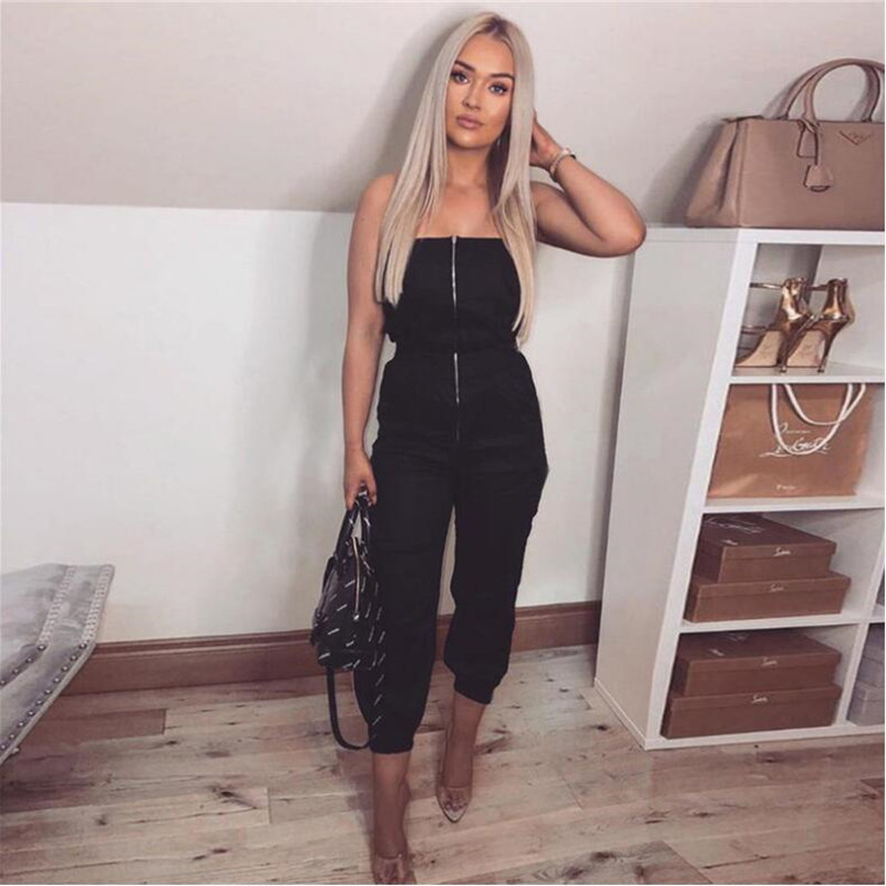 Women New Fashion   Jumpsuit   Zipper Fly Strapless Sexy Sleeveless Playsuit With Packets Patchwork Female Fashion Leisure Rompers