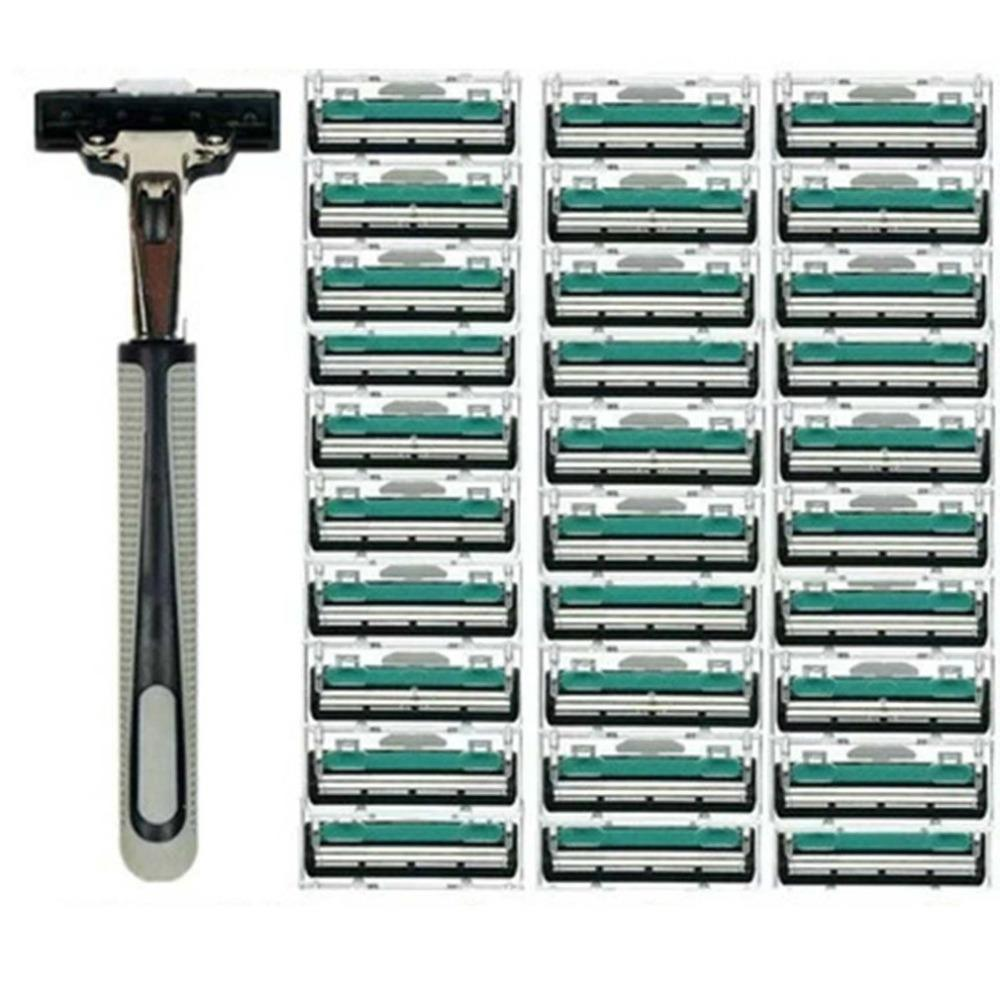 Men/'s Manual Razor Double Layer Razor 1 Knife Holder 30 Cutter Head double-layer blade with precise tilting