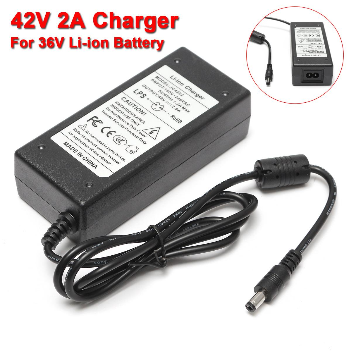 42V 2A <font><b>Charger</b></font> For <font><b>36V</b></font> Li-ion Lithium <font><b>Battery</b></font> Two-Wheel Self-Balanced Vehicle ! image