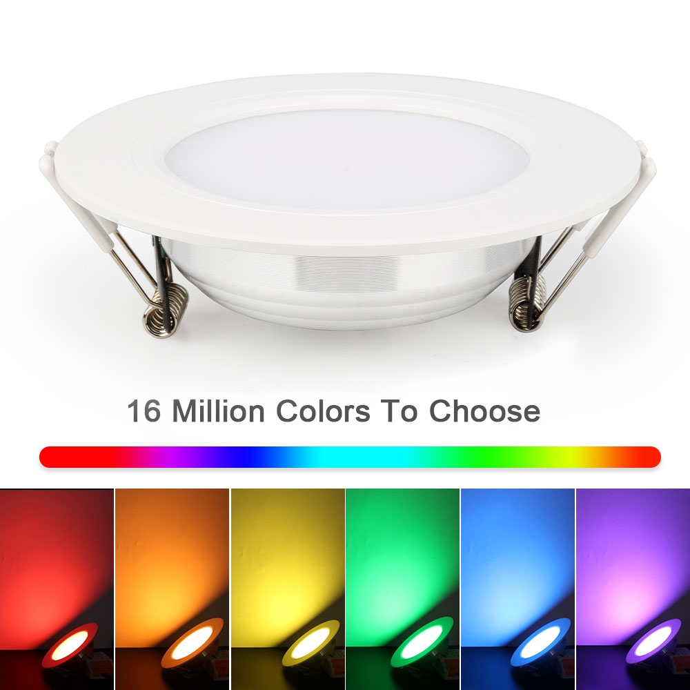 6W LED downlight RGB CCT Dimmable 16Million colors with Remote AC85 265V Indoor Home decoration 45