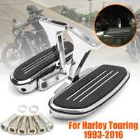 Pair Chrome Rear Passenger Foot Board & Bracket Holder For Harley 1993 2016 Motorcycle Foot Peg Footboard
