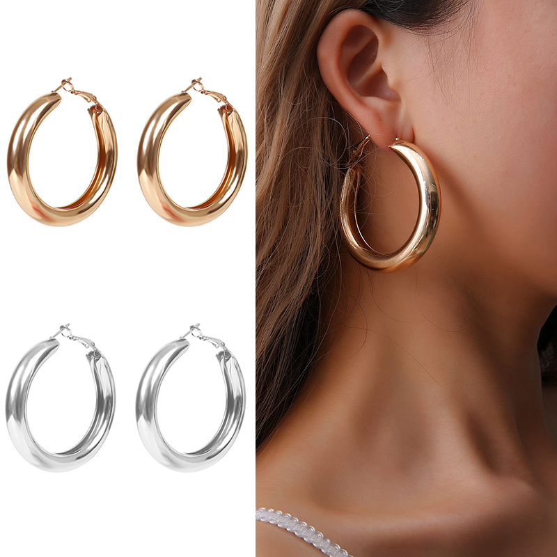 2019 New Hot Sale Vintage Big Crircle Earrings For Women Gold Color Over Size Round Dangle Earrings Simple Earrings