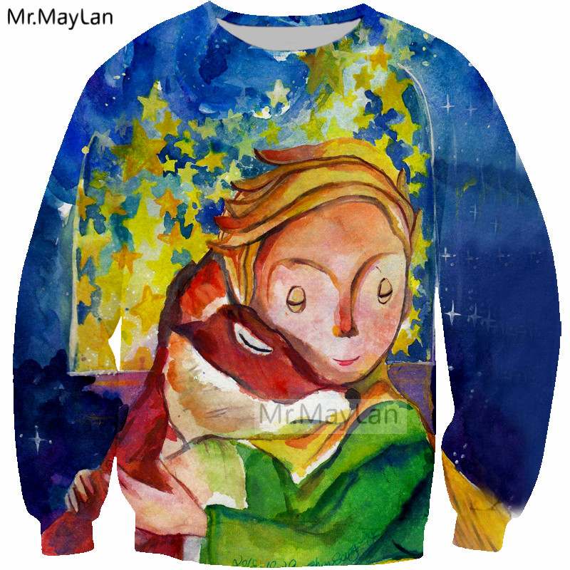 Le Petit Prince n Roses 3D Print Sweatshirts Men Women Hipster Pullover Blue Hoodies Girls Gothic Streetwear Outwear Clothes 5XL in Hoodies amp Sweatshirts from Men 39 s Clothing