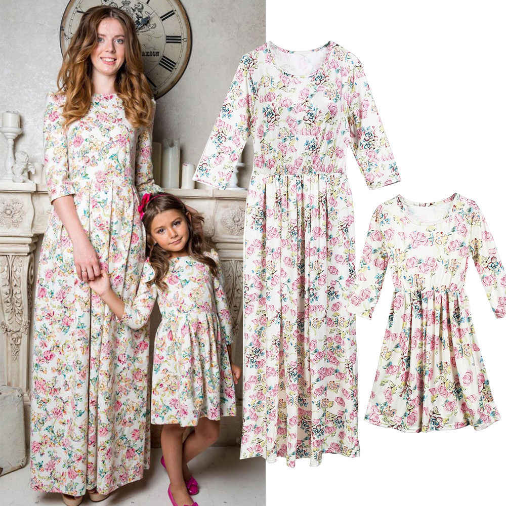 7a04d00346504c 2018 Canis Family Matching Mother Daughter Dress Holiday Mommy Me 3/4  Sleeve Long Floral